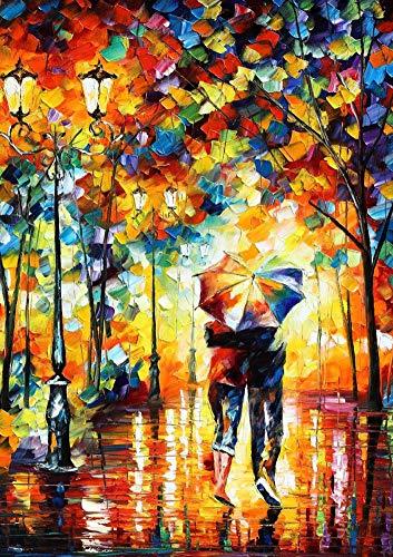 Awesocrafts Kit complet de peinture diamant 5D pour adultes et enfants Motif couple d'amour avec ombrelle, dos ombré, arbres, rue