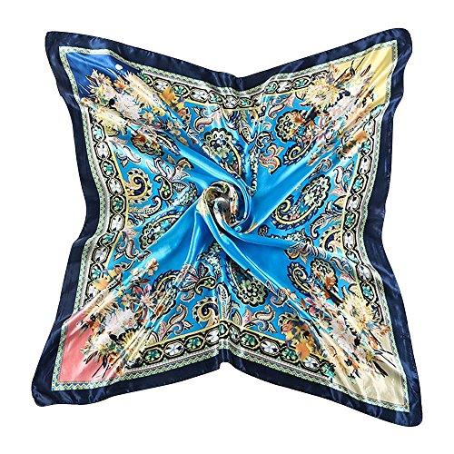 Bluelans® Damenschal Faux Seidenschal Seidentuch Blume Bandana Halstuch Kopftuch Schal 90 x 90 cm Bunte (Blau/Dunkelblau)