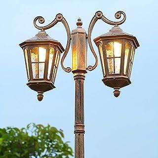 Garden Light Column Outdoor High Pole Glass Lantern Waterproof Patio European Retro External Lawn Street Light E27 Villa L...