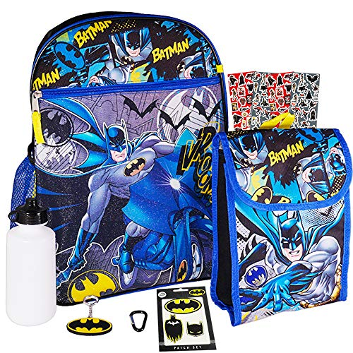 Batman Backpack and Lunch Box Set for Kids Boys ~ 7 Pc Deluxe 16' Batman School Bag, Lunch Bag, Patches, Stickers, and More (Batman School Supplies Bundle)