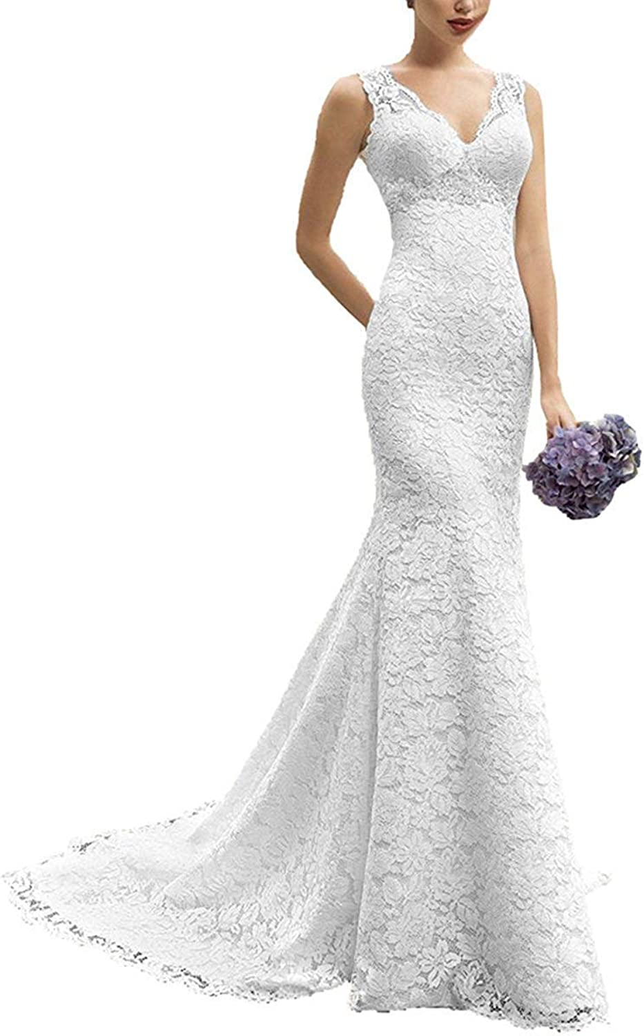 Fitty Lell Women's Mermaid Lace V Neck Wedding Dress Elegant Bridal Gowns