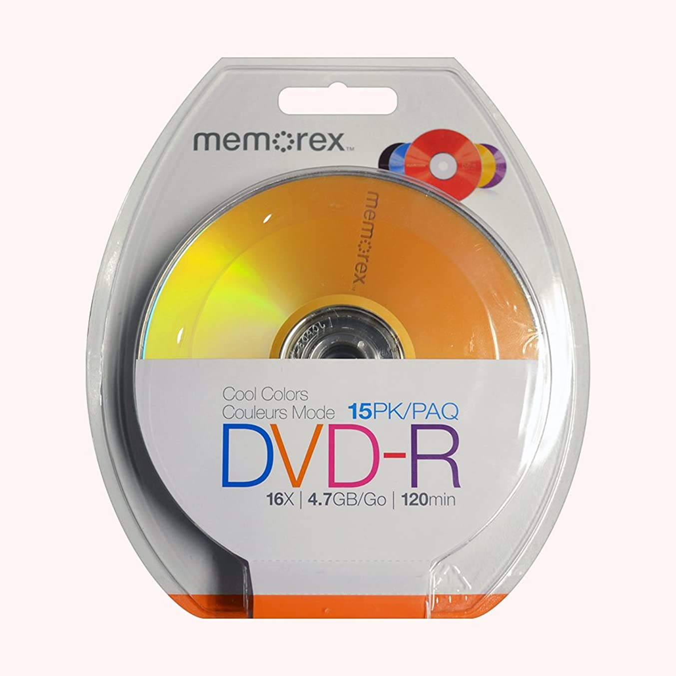 Memorex 4.7GB 16X DVD-R Blister Cool Colors, 15 Pack (32020019223)