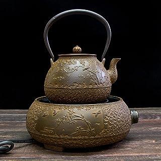 Pot en fer de style japonais, pot en fonte, service à thé non enduit fait à la main-E.
