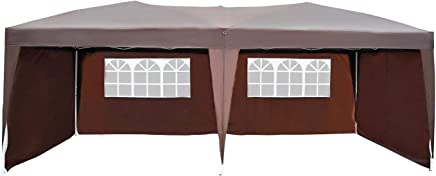 Outsunny Tonnelle Barnum Tente de réception Pliante Pop up 3 x 6 m Chocolat + Sac de Transport
