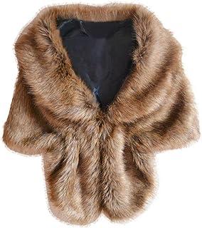 Pingtr Womens Ladies Shawls,Elegant Bridal Wedding Faux Fur Long Shawl Stole Wrap Shrug Scarf