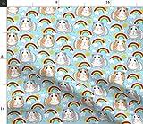 Spoonflower Stoff – Meerschweinchen Regenbogen Blau