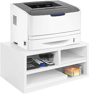 COMIFORT Soporte para Impresora- Funcional Elevador para Fax con Estantes de Gran Capacidad, Muy Resistente, de Estilo Moderno y Minimalista, Color Blanco