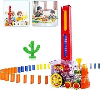 Domino Train, Domino Train Building Blocks Toy Car Set, Children's Automatic Building Block Set Kids Electric Luminous Mus...