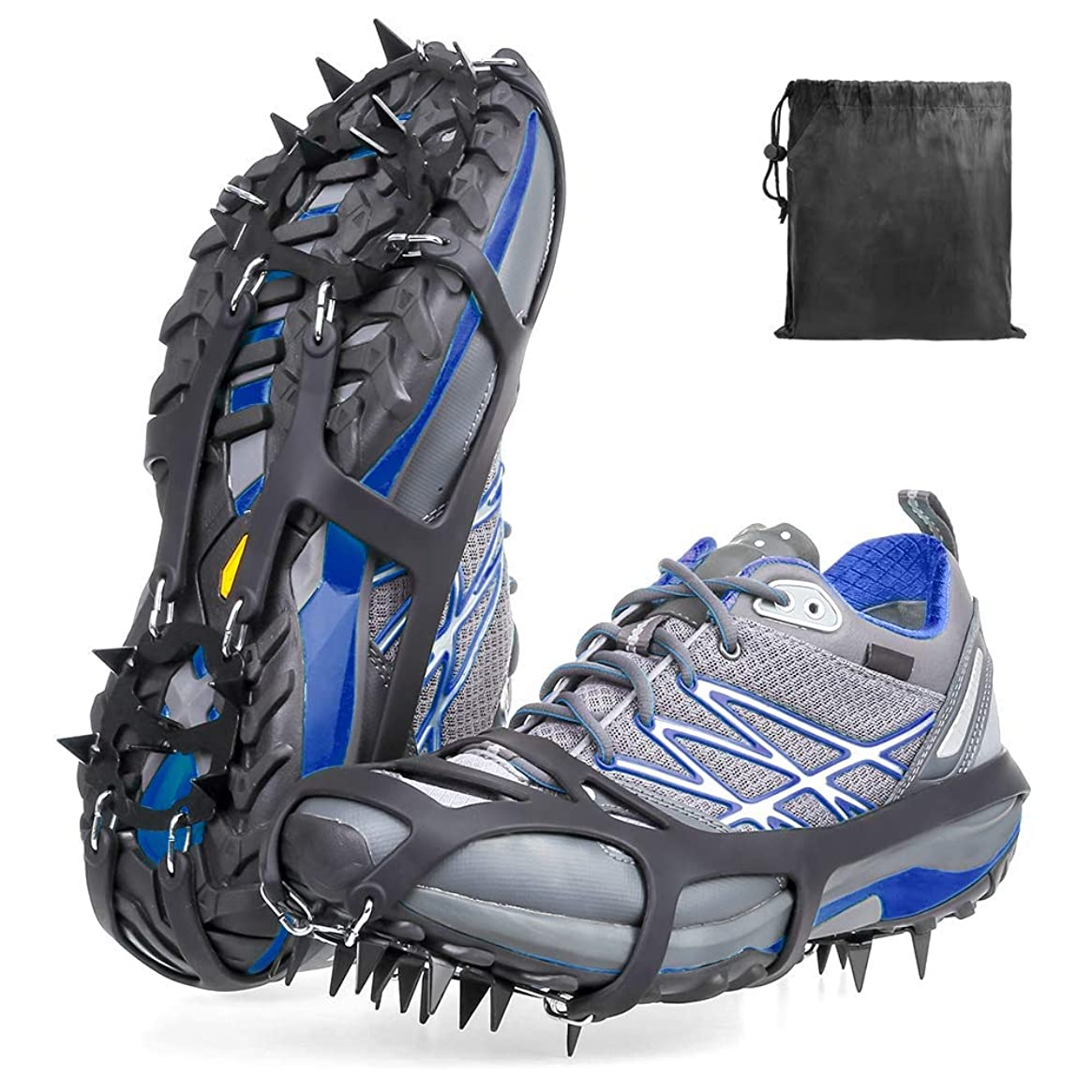 LIKE company Crampons Ice Snow Grips Anti-Slip Ice Cleats Walk Traction Cleats with 18 Manganese Steel Spikes Safe Protect for Hiking Fishing Walking Climbing Jogging