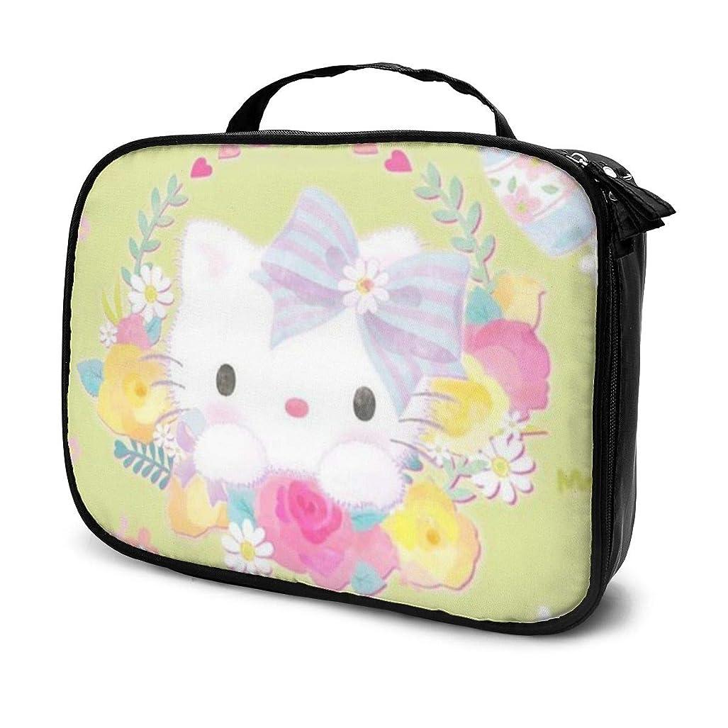 セットアップ過半数取り消すDaitu花とハローキティ 化粧品袋の女性旅行バッグ収納大容量防水アクセサリー旅行