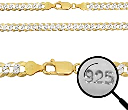 Harlembling Men's Flat Cuban Chain Or Bracelet - 6mm - 14k Gold Over Solid 925 Sterling Silver - Made in Italy - Two Tone Diamond Cut