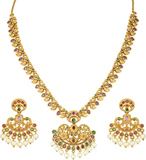 Antique Finish Faux Stone Studded Necklace Earrings Set Indian Wedding Bollywood Fashion Jewelry for Women