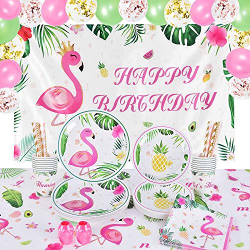 WERNNSAI Flamingo Partyzubehör - Tropisch Luau Thema Geburtstag Partydekorationen für Mädchen Kinder Happy Birthday Foto Hintergrund Tischtuch Geschirr Platten Tassen Servietten 16 Gäste 104 PCS