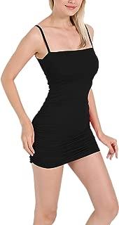 Womens Sexy Solid Spaghetti Strap Bodycon Mini Party Club Dresses