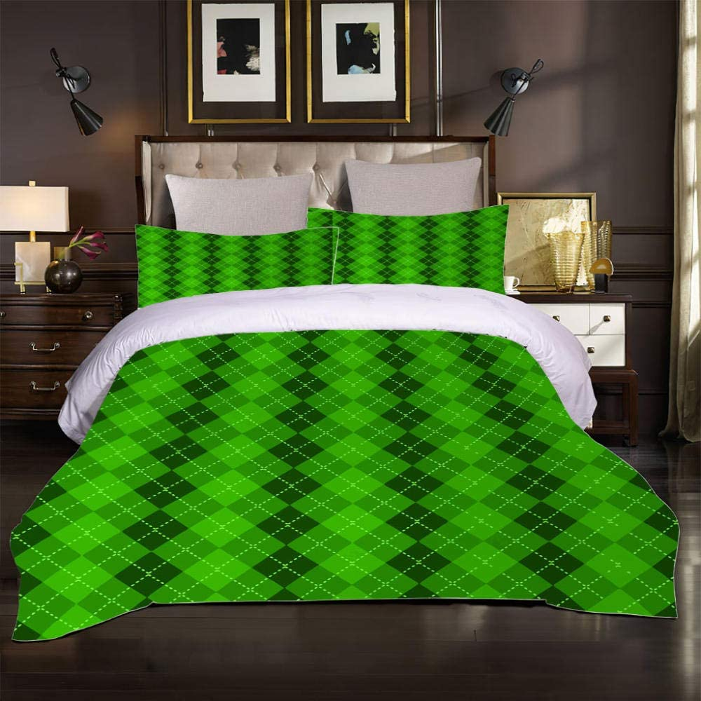 FYVEJI Bedding Duvet Cover Queen Zipper Set Closure 90x90 Low price Green All stores are sold