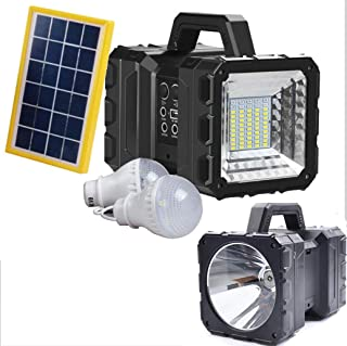 Solar LED Rechargeable Handheld Searchlight,Cordless Mobile LED Floodlight, Portable Spotlight,IP65 Outdoor Camp Lamp, Red...