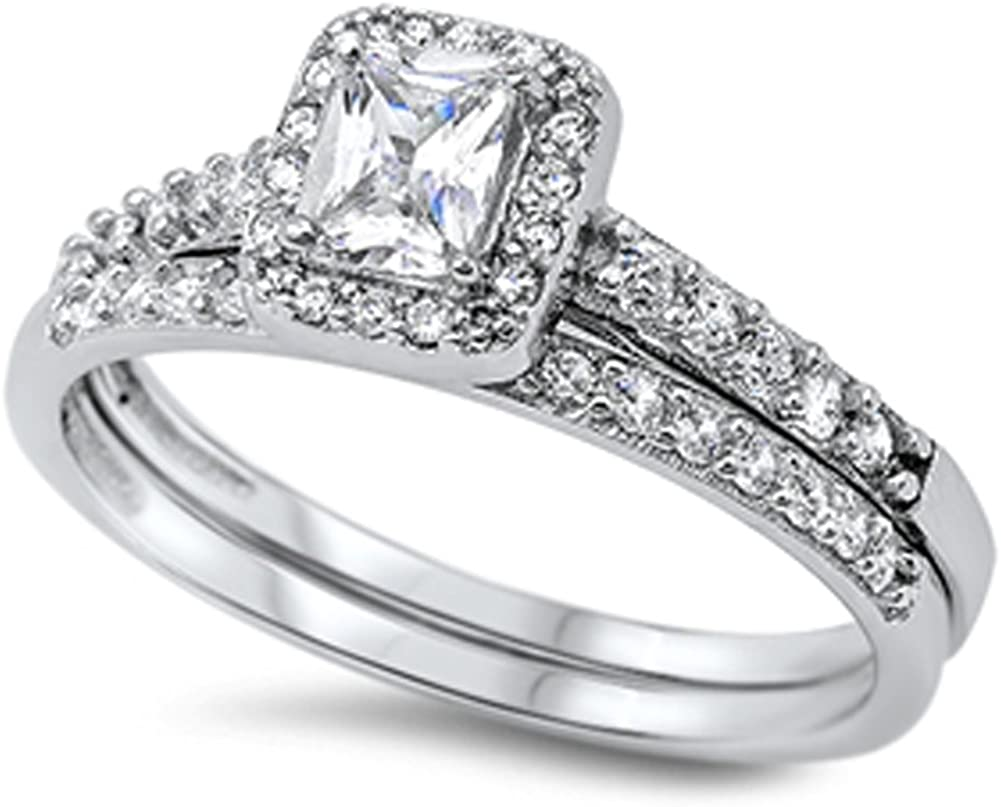 Ranking TOP4 Washington Mall CHOOSE YOUR COLOR Sterling Halo Silver Wedding Ring
