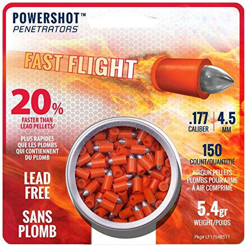Crosman LF1754 .177-Caliber Lead-Free PowerShot Fast Flight Penetrator Pointed Pellets (150-Count)