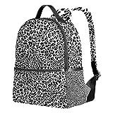 [page_title]-Tenboya Unisex Schulrucksack Schwarz Weiß Panther Leopard Skin Student Book Bag Rucksack Tasche Tasche Tasche Wandertasche
