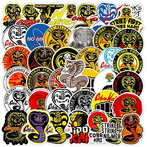 Cobra Kai Snake Aufkleber Pack für Laptop, Wasserflaschen, Telefon, Computer, Motorrad, Fahrrad, Auto, LKW, Helm, Stoßstange, Vinyl, 50 Stück