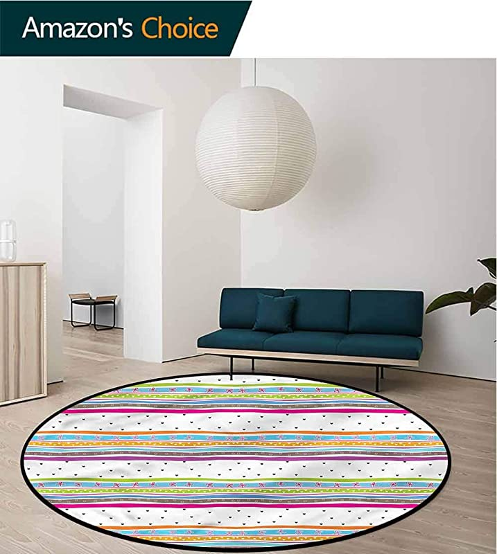 RUGSMAT Striped Small Round Rug Carpet Bows Hearts Dots Girly Floor Mat Home Decor Diameter 59