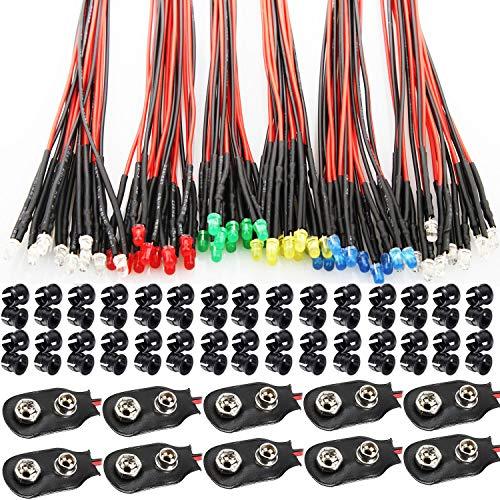 RUNCCI-YUN 60Pcs 3mm Leds mit 20cm Kabel, DC 12V Vorverdrahtetes Licht, Vorverdrahtete LED-Dioden Licht (Rot, Gelb, GRÜN, Weiß, Warmweiß, Blau) + 60Pcs 3mm LED Montageringe Plastik+9V Batterieklemme