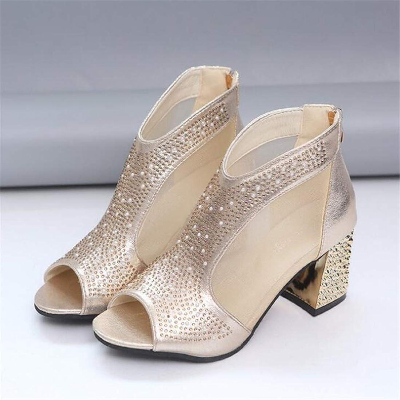 T-JULY Women's Sandals Waterproof Platform Fish Mouth Fashion High Heels Diamond Summer Wedding Party shoes