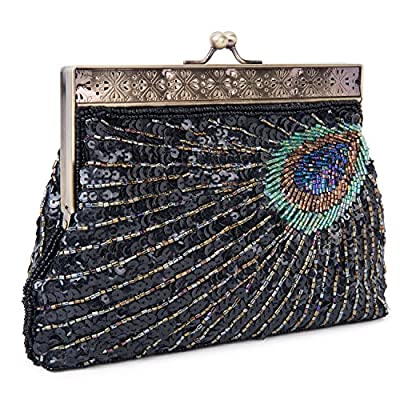 UBORSE Beaded Sequin Peacock Evening Clutch Bags Party Wedding Purse