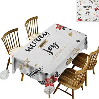 kangkaishi Leakproof Polyester Long Tablecloth Outdoor and Indoor use Christmas Themed Flowers Swirls Stars Celebratory Arrangement Merry Illustration W52 x L70 Inch Camel Red Black