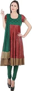 Devaleena Creations Red & Green Anarkali & Churidaar & green Dupatta for ladies