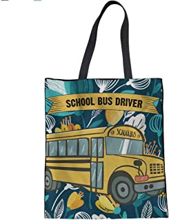 HUGS IDEA Cartoon Car Print Canvas Tote Bag Women's Fashion Handbag Travel Beach Shoulder Bags