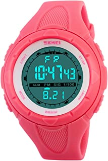 SKMEI Digital Sports Watch Women Waterproof EL Backlight PU Band Small Military Wristwatches Girl Outdoor