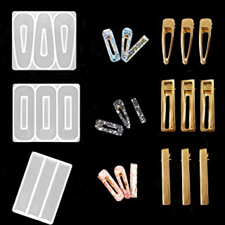 iSuperb 3 pcs Silicone Resin Molds Hair Clip Casting Molds Clear Epoxy Mold Including 9 Accessories for Jewelry Hair Pin M...