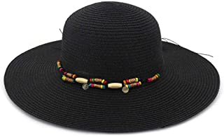 New Sunshade Beach Hat Big Along The Hat Fashion Wild Women Straw Hat Summer Holiday Sun Hat` TuanTuan (Color : Black, Size : 56-58CM)