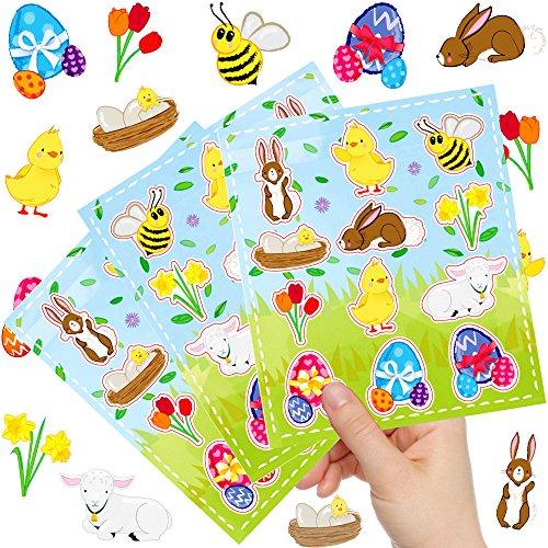 German-Trendseller ® - 12 x Ostern Kinder Sticker - Set Oster Party ┃ Kindergeburtstag ┃ Mitgebsel ┃12 Bögen