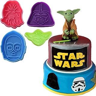 Anyana 4pcs set Star wars cartoon fondant plunger Cookie Cutter biscuit stamp stamper impression decorating Sugarcraft Cake Decoration pastry pie crust mold
