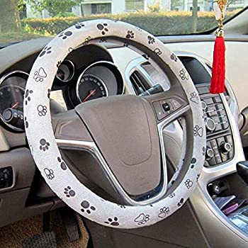 Cute Car Steering Wheel Cover for Women and Girls,Car Accessories for Women,Colorful Dog Paw Print GePrint Universal Steering Wheel Covers
