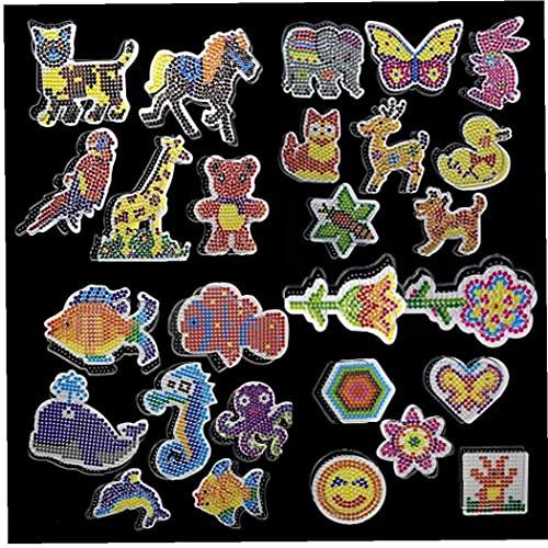 Ruluti Fuse Beads Craft Kit, 6pcs Puzzle Pegboards Patrones Plantillas Y Plancha Plancha Y Pinzas De Plástico para 5mm Hama Beads Puzzle Toys para Niños