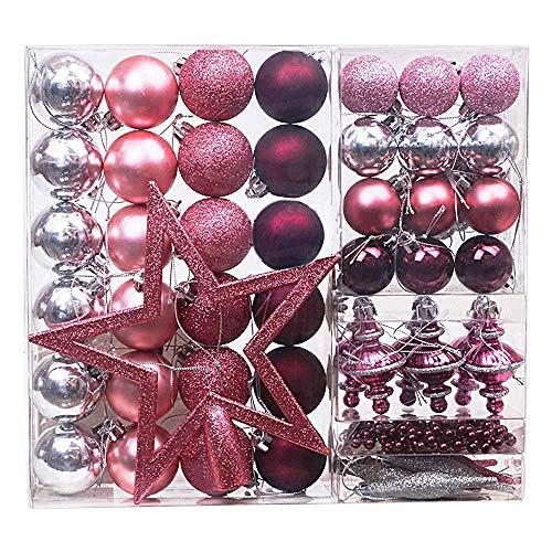 Victor's Workshop 100 Set Palline di Natale, Set di Palline di Natale, Decorazioni in plastica per Albero di Natale Decorazione(Rosso-Bianco)