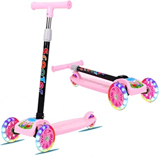 Mumoo Bear 3 Wheel Kick Scooter for Kids Boys Girls Adjustable Height PU Wheels Best Gifts for Children from 3 to 12 Year-Old