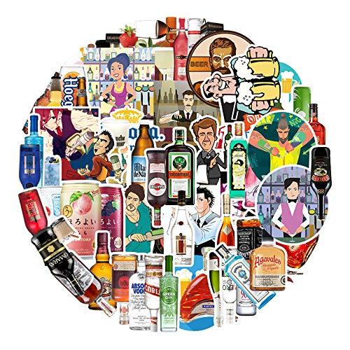 YZFCL Etiqueta engomada de la Botella de la Barra Personalidad de Dibujos Animados Maleta Scooter Taza de Agua teléfono Carcasa Trasera Decorativa Pegatina Impermeable 67 unids