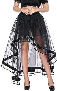 Zooma- Gonna - Donna Black,Moda Tutu Gonna Gonfia delle Donne Rockabilly Rete Nera Molto Indietro Vestito