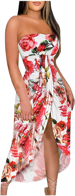 Boho Dresses for Women,Women Summer High Waist Off The Shoulder Tube Top Sundress Split Floral Printed Tunic Long Dress