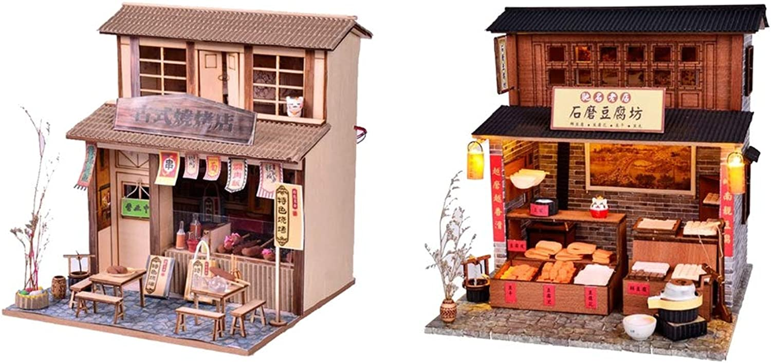 D DOLITY 1 24 Dollhouse Miniature DIY House Kits with Furniture Accessory DIY Handicrafts Project (Barbecue Shop & Beancurd Mill)