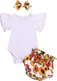 Newborn Kids Baby Girls Clothes Sunflower Romper Overalls Outfit with Top Shirts and Headband 3Pcs Clothing Set
