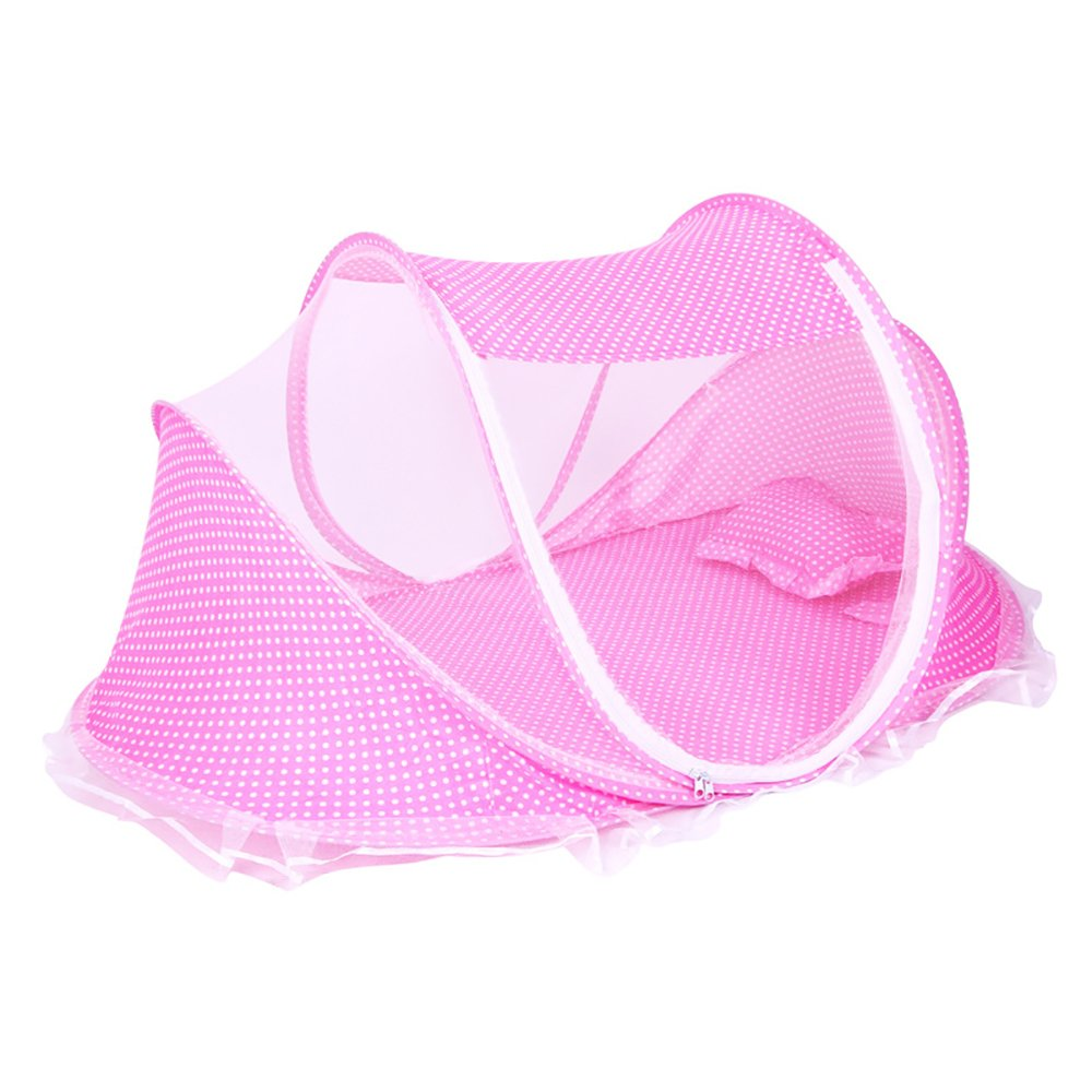 ThreeH Portable Baby Summer Travel Crib Folding Mosquito Net Beach Tent with Pillow BX04,Pink