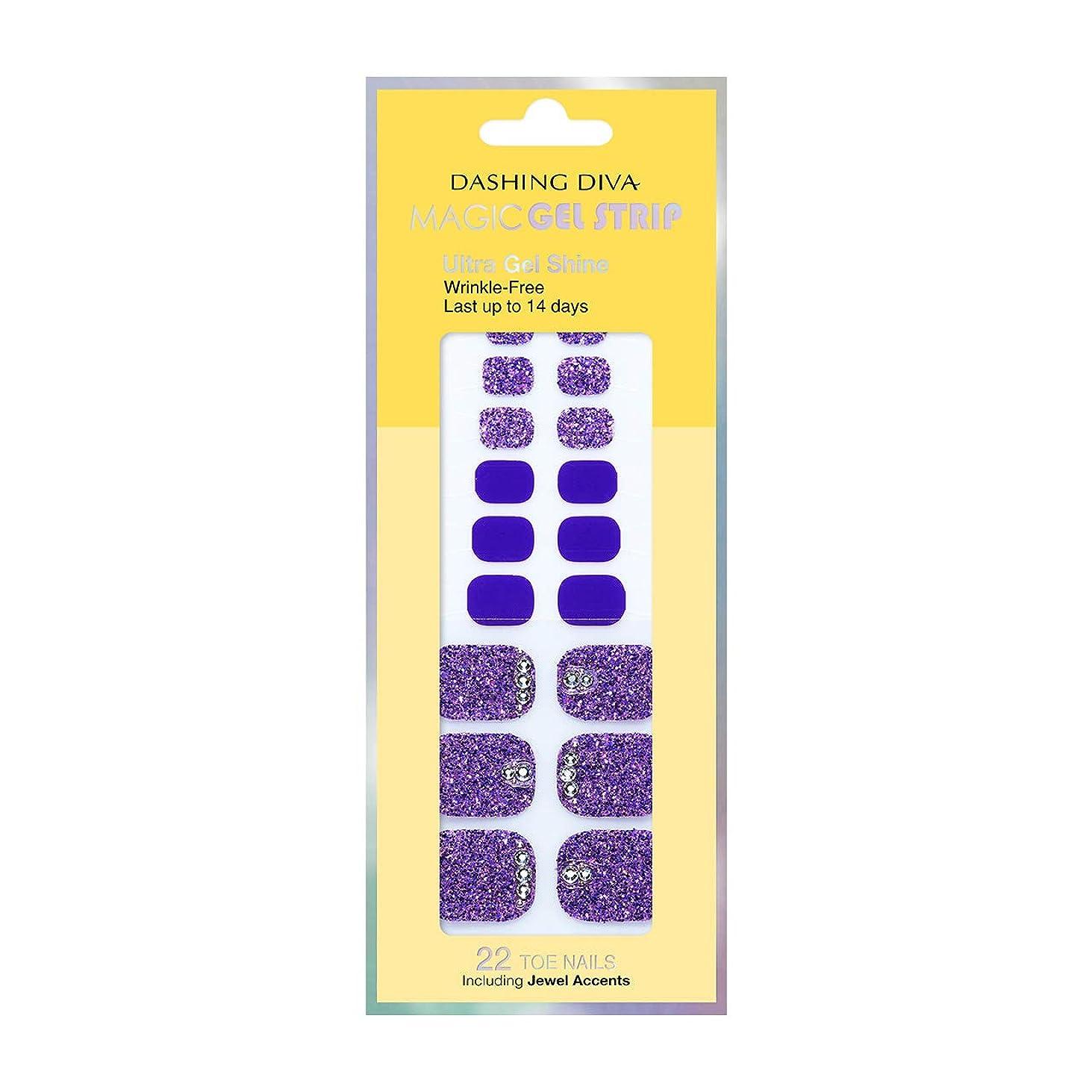 永遠のファイル木材ダッシングディバ マジックジェルストリップ DASHING DIVA Magic Gel Strip DGST77P-DURY+ オリジナルジェル ネイルシール Bling-jewel Sparkle Purple