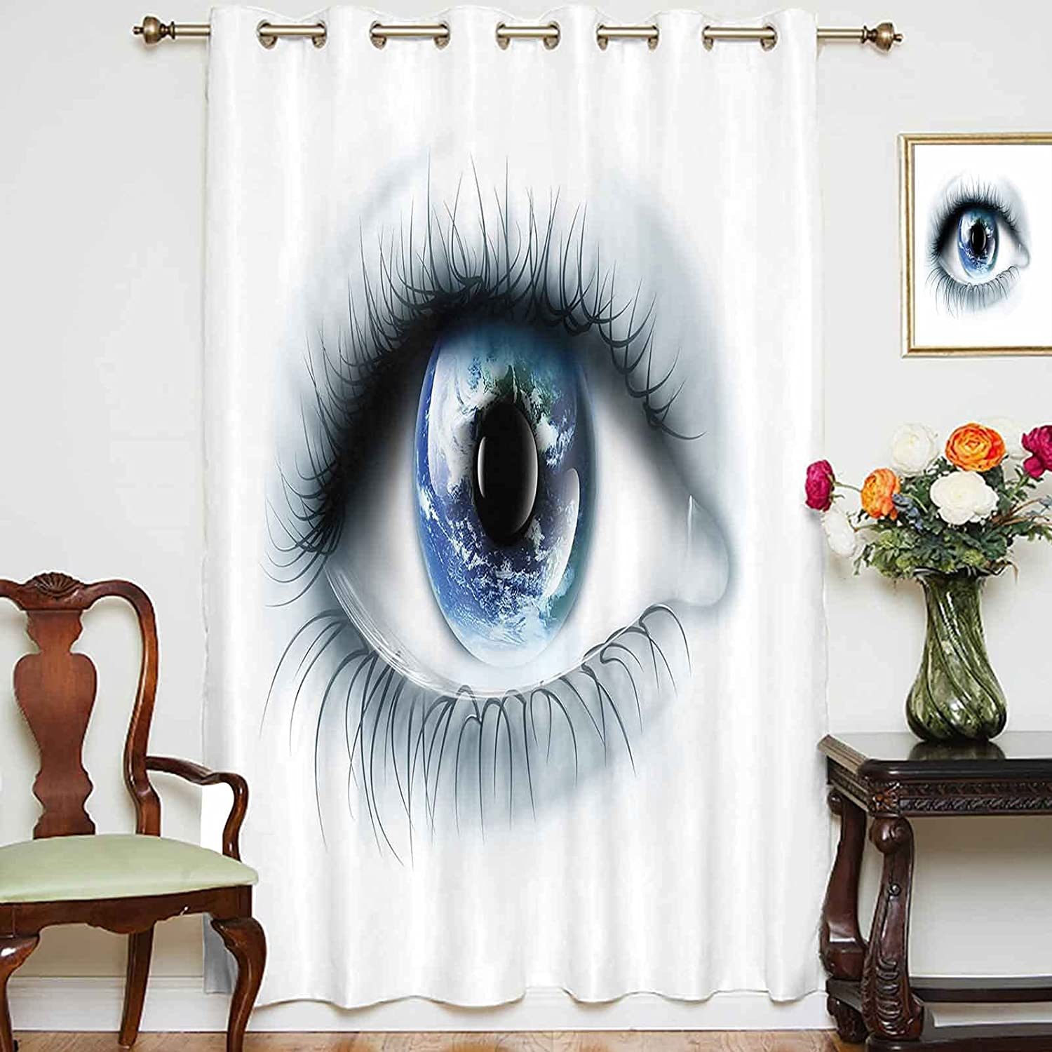 Blackout Curtains Panels Max 71% OFF In a popularity Planet Earth Reflected Eye Uni in Vivid