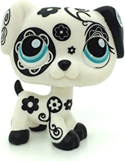 zhixin lps Littlest Pet Shop White Skin Black Pattern Green Big Eyes Cute Mini Spotted Toy Dog