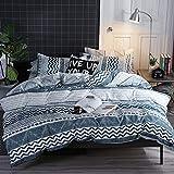 Damier Ropa de cama geométrica de 135 x 200 cm, diseño de rayas, color azul y blanco, juego de funda nórdica de 4 piezas con cremallera y 2 fundas de almohada de 80 x 80 cm